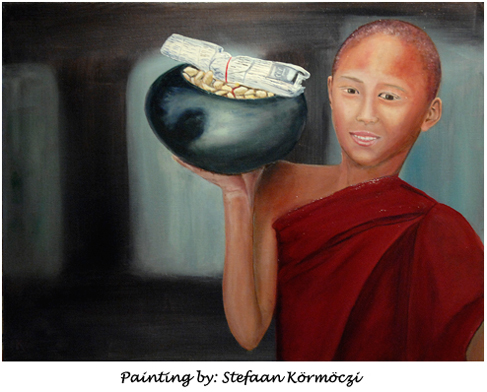 Monk with bowl